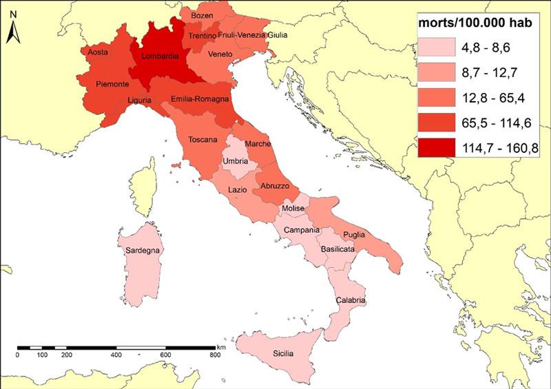 COVID-19 mortality in Italy - regions - June 2020